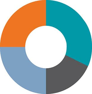 pie chart in teal, orange, blue, and grey, with blank circle in the middle