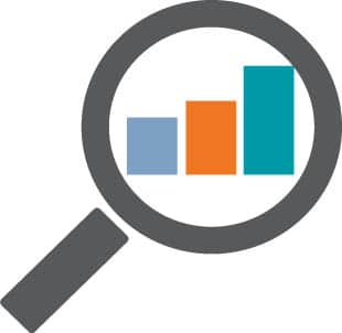 magnifying glass inspecting a bar graph